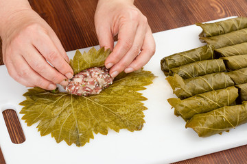 cabbage rolls with grape leaves