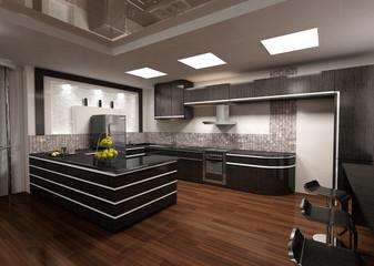 3D rendering of modern kitchen