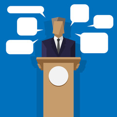 policies behind the podium with speech bubbles