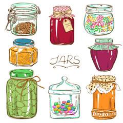 Colorful set of isolated mason jars