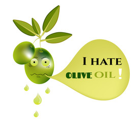 Funny, isolated, green olive with leaves, face and text - I hate