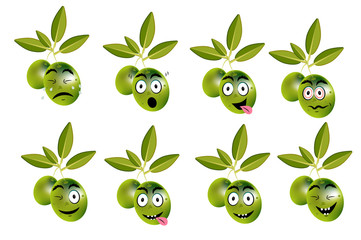 Funny set, collection of olives with leaves and face - sadness