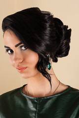 smiling woman with stylish hairstyle