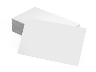 Stack of blank business card isolated on white