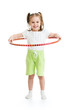 kid girl does gymnastic with hoop on white background