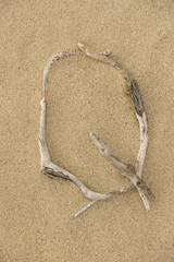 Alphabet Buchstabe Q aus Treibholz auf Sand
