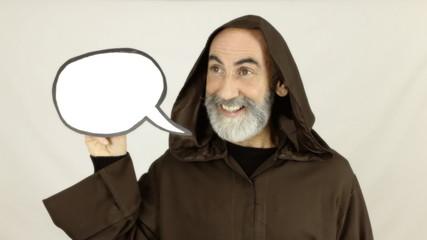 Friar holding white speech balloon look left