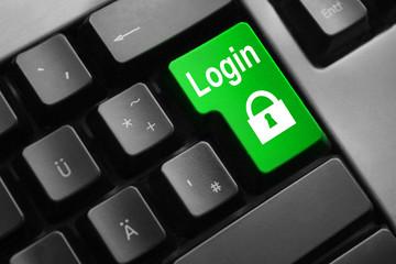 grey keyboard green button login lock