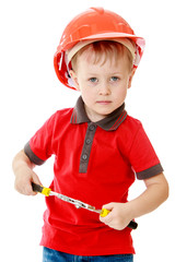 Little boy with tools in hand.