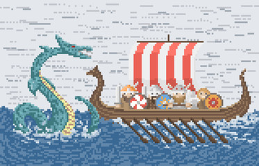 Vikings Battle With The Sea Dragon, Pixel Art Style