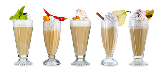 Set of Coffee cocktails with cream (frappuccino) with fruits and