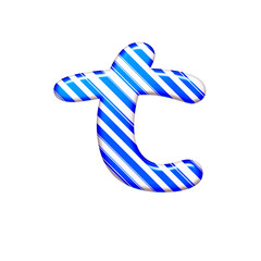 The letter T of caramel color is blue