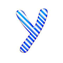 The letter Y of caramel color is blue