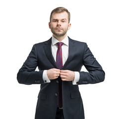Businessman standing over white background