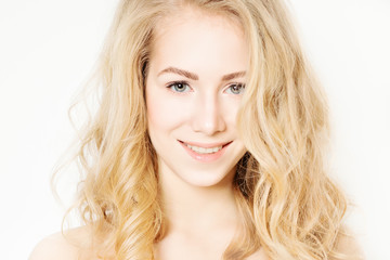 Blonde Woman. Makeup and Curly Hairstyle