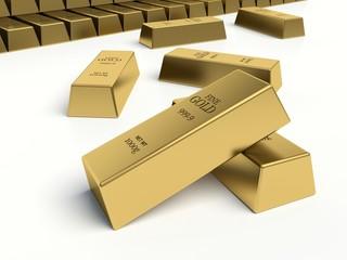 Gold bars on white background. Gold reserves concept.
