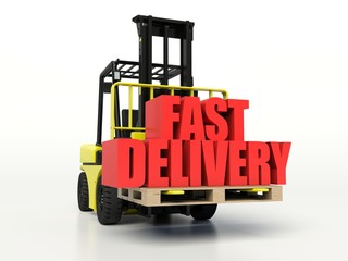 Forklift truck carrying boxes with Fast Delivery inscription.