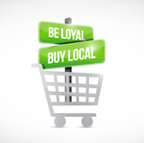 be loyal buy local shopping cart sign poster