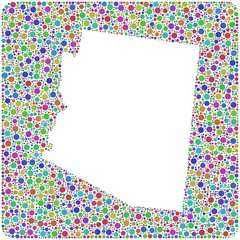 Decorative map of Arizona into a square icon