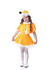 Funny little girl in fox suit posing at camera