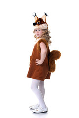 Nice girl dressed as squirrel posing at camera