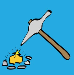 cartoon pick axe and gold
