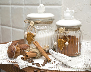 decorative jars of loose bulk foods