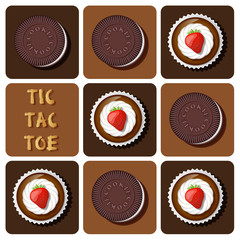 Tic-Tac-Toe of cup cake and cookie