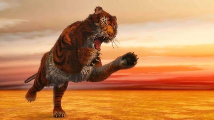 Tiger jumping - 3D render