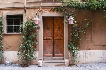 Porta esterna in legno marrone