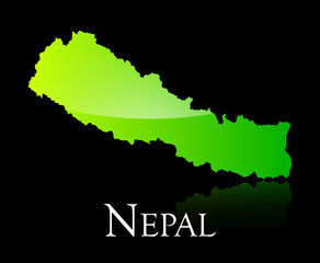 Nepal green shiny map