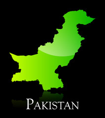 Pakistan green shiny map
