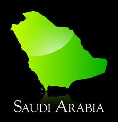Saudi Arabia green shiny map