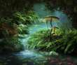 Fantastic river and pond with red fishes and mushrooms