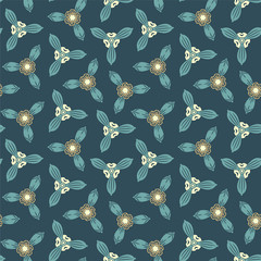 cartoon flowers on a dark blue background