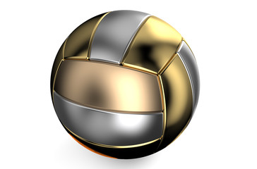 golden and silver volleyball ball