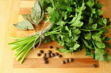 Bunch of fresh parsley and pepper.