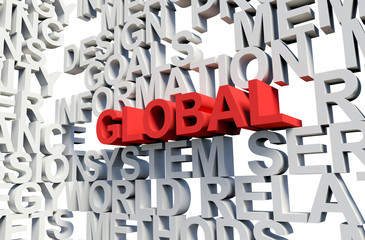 GLOBAL Word in red, 3d illustration.