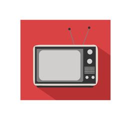 Retro flat TV icon