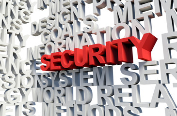 SECURITY Word in red, 3d illustration.