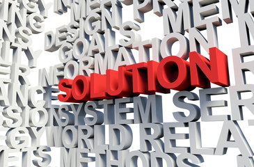 SOLUTION Word in red, 3d illustration.