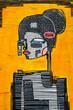 Abstract graffiti woman with long thin neck
