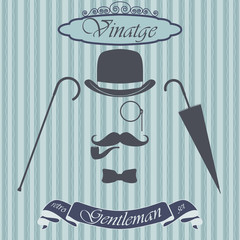 Retro gentleman elements set. Vintage sign. Old fashiond theme