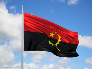 Angola 3d flag floating in the wind in blue sky