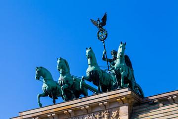 Brandenburg Tor detail. Berlin, Germany.  Victory and Fame often