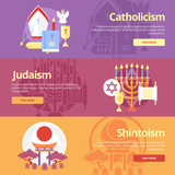 Flat banner concepts for catholicism, judaism, shintoism. poster