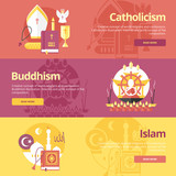 Flat banner concepts for islam, buddhism, catholicism. poster
