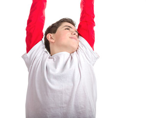 Soft skinned boy raising hands and arms