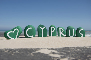 Love Cyprus on green colored stones