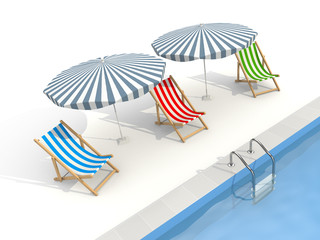 Parasols and sun loungers are near the pool